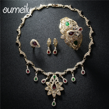 OUMEILY Jewelry Sets Women Wedding Indian Jewelry Set Bridal African Nigerian Beads Luxury Fashion Gold Color Turkish Jewelry(China)