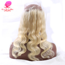 QUEEN BEAUTY HAIR Pre Plucked 613 Blonde 360 Lace Frontal Closure Body Wave Remy Brazilian Hair Full Lace Natural Hairline