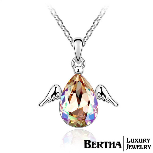 Luxury Elegant Austrian Crystal Necklaces Angel Wings Statement Necklace Women Best Friends Party Wedding Jewelry Bijoux