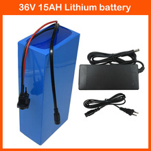 Rechargeable 500W 36V Electric Bike battery 36V 15AH Lithium Bicycle battery with PVC case 15A BMS 42V 2A charger Europe no tax
