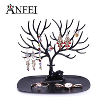 ANFEI New Listing Jewelry Display Deer Shape So Cute Earrings , Ring Display Stand Holder With Plastic Material 9.03**9.84inch