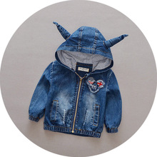 spring children clothes baby boys girls unisex denim coat cute horn design hooded outwear coat cotton long full sleeves tops 036