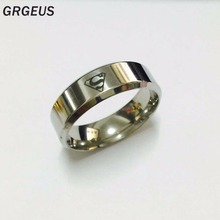 High quality Boys Men 100% silver Stainless Steel Ring Superman Rings Wholesale and Retail US fashion(China)