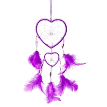 Hot Selling Dream Catcher Heart Shape with Feathers Wall Hanging Decoration Ornament Rose Red White(China)
