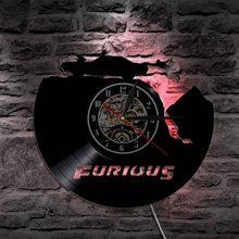 1Piece Fast & Furious Movie Theme Handmade Decorative Wall Light Vintage Vinyl Record Led Clock Wall Art Decor Unique Gift Idea