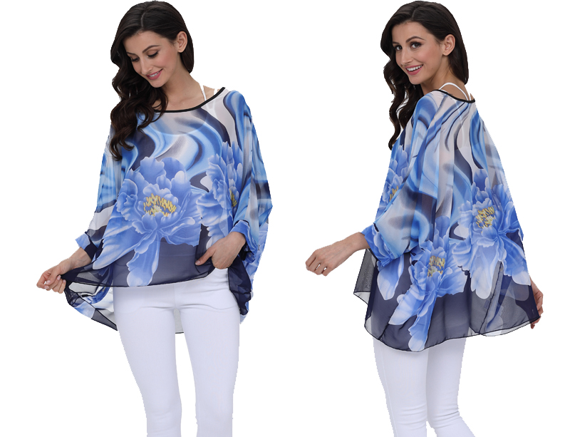 BHflutter 18 Women Tops and Blouses Plus Size Floral Print Casual Chiffon Blouse Boho Style Batwing Sleeve Summer Shirt Blusas 19