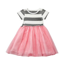 KLV Toddler Infant Kids Baby Girls Summer Clothes Draped Short  Striped Dress