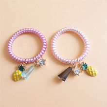 2PCS Rhinestone Crystal Pineapple Hairbands Women Girl Elastic Wire Hair Tie Rope Band Ponytail Telephone Tie Rubber headwear