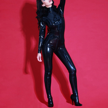 Buy Latex Catsuit Feet Sexy Rubber Girl's Garment Clothes Bodysuit Front Zipped