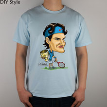 Roger Federer T-shirt   Q Carton funny Top Lycra Cotton Men T shirt Fashion Original Brand New DIY Style High Quality