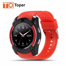 Toper V8 Bluetooth Smart Watch with SIM/TF Card For IOS Android Phones facebook Pedometer Sleep Men Women Sport Wristwatch