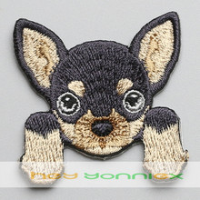 Hey Yonniex 5PCS Chihuahua Iron On Patches For Kids Embroidered Dog Patches For Clothing Fabric Badges(China)