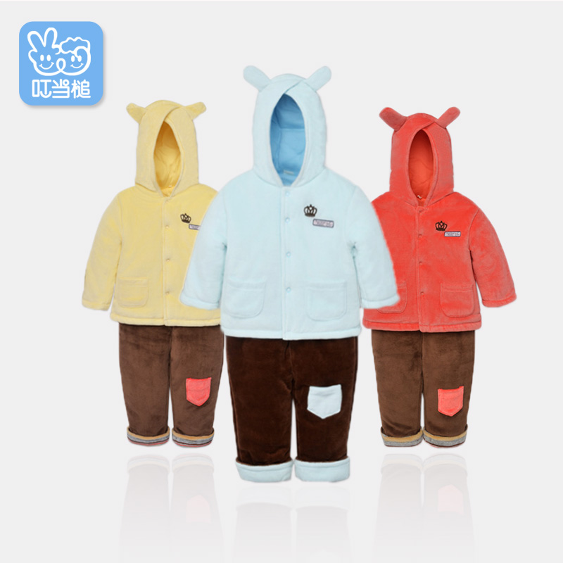 Dinstry autumn winter childrens cartoon padded coat+Pants 2pcs suit Boys Girls thicken babys hoodie cotton Infant Outfit<br>