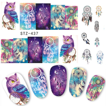 1 Sheets 2017 Hot Selling Owl Bells DIY Full Stamp Nail Sticker Women Sexy Cute Watermark DIY Polish for Nail Decals STZ437/8(China)