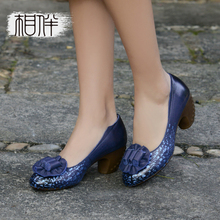 Original vintage leather women pumps high heels 2017 spring round head fashion handmade shoes shallow flower shoes blue