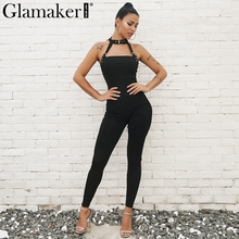 Buy Glamaker Belt halter black bodycon jumpsuit Winter hollow red backless women jumpsuit overalls Female sexy romper playsuit