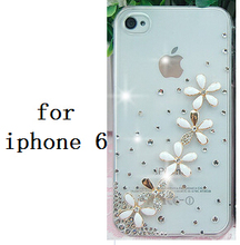 3D Pure and fresh and flower Crystal Diamond Case Cover For iPhone 6 6 plus 5 5g 5s 5c 4 4g 4s 3g 3gs retail box