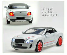 1:24 Scale Alloy Diecast Car Model For Bentley Continental Supersports ISR Collection Model Toys With Sound&Light-With Hood