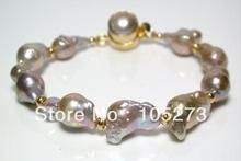 New Free Shipping Pearl Jewelry 10X15MM Natural Gold-Pink Baroque Pearl And Karen Gold Vermeil Bracelet Top Quality Wholesale(China)