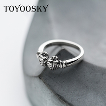 TOYOOSKY Fist Ring Boxing Hand Original S925 Sterling Thai Silver Rings for Women Men Contracted Jewelry Adjustable Size(China)