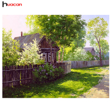 Free Shipping DIY Landscape Diamond Embroidery Cross Stitch Crystal Diamond Painting Mosaic Forest House Patterns Rhinestone