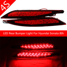 LED Rear Bumper Reflector Assemble Brake & Driving Lamp For Hyundai Sonata 8th 8 Generation Red Lens BackupTail Fog Lights