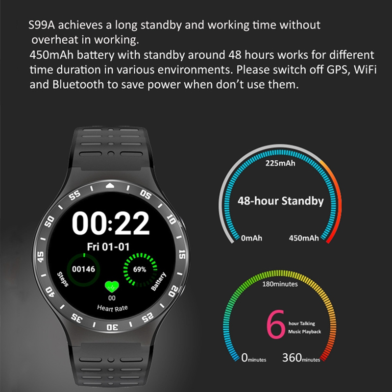 OOTDTY  S99A Android OS V 5.1 SmartWatch 3G Wifi SIM Bluetooth Camera for Android Phone