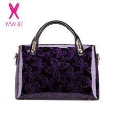 YANXI 2017 Hot Sale Butterfly Patent Leather Shoulder Vintage Handbag Hard Messenger Women's Bag Designer Handbags High Quality