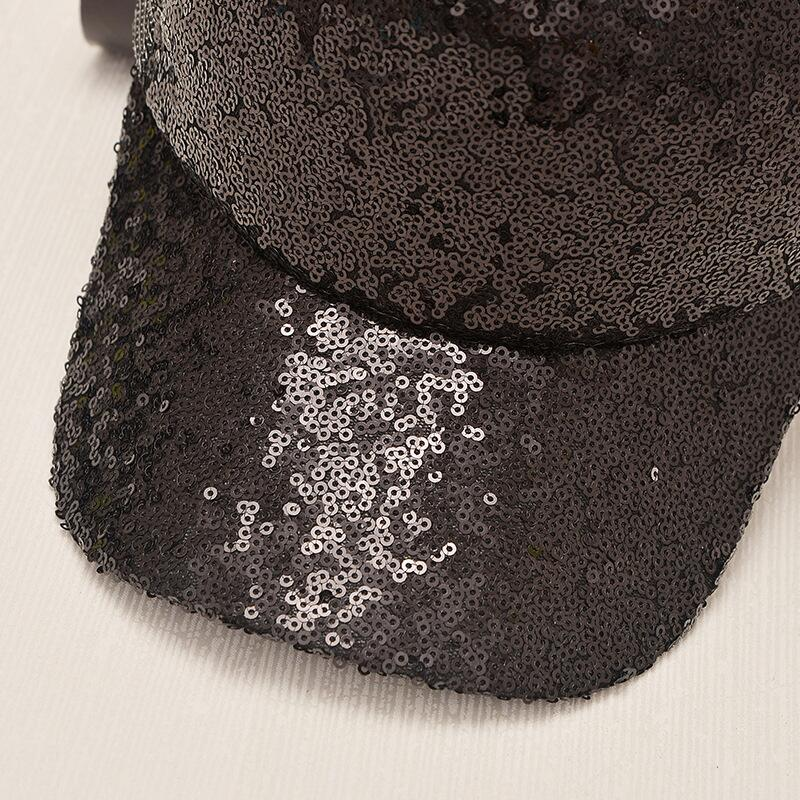 17 New Summer Black Sequins Baseball Caps For women Mesh Hat Net Cap Casquette Sparkling Leisure Sun Cap Adjustable Adult 11