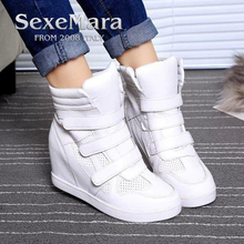 Buy 2018 leather womens Sport Walking high top shoes Lace-up leisure Flats shoes women Walking shoes deportiva sapato feminino for $20.57 in AliExpress store