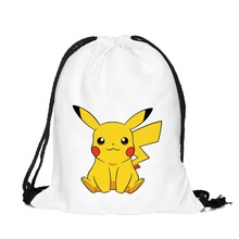Who Cares 3D Printing Pokemon Backpack Pikachu Drawstring Bag Cartoon Women Mochila Escolar Game Daily Backpack for Teenagers