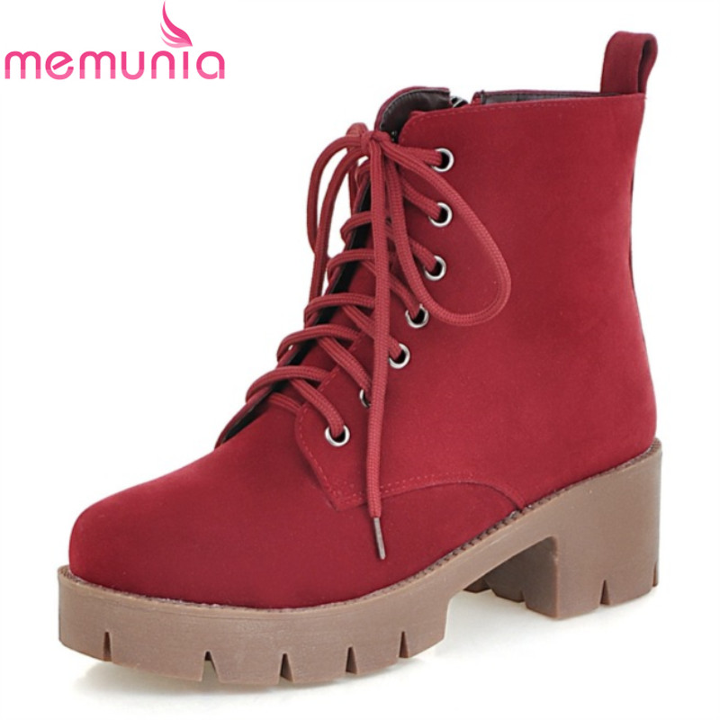 Big size 33-42 2017 autumn winter fashion solid black women boots med heel round toe platform lace up ankle boots black red<br><br>Aliexpress