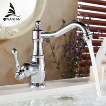 Basin Faucets Chrome Silver Brass Bathroom Sink Faucet Single Handle Swivel Hot Cold Mixer Water Tap Banheiro Torneira LH-6003L(China)