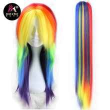 Miss U Hair Synthetic Girl Unisex 60cm Long Straight Hair Rainbow Color Halloween Cosplay Costume Wig with Claw Ponytail Set(China)