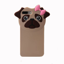 2017 Fashion 3d cartoon forest animal monsters joy doll french bulldog pink bow dog pet soft silicone cell phone case For Iphone(China)
