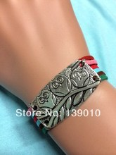 New Arrival Colorful Knitted Leather Suede Animal Owl Accessories Bracelet Bangle Antique Silver Charm Women Jewelry Pulseira