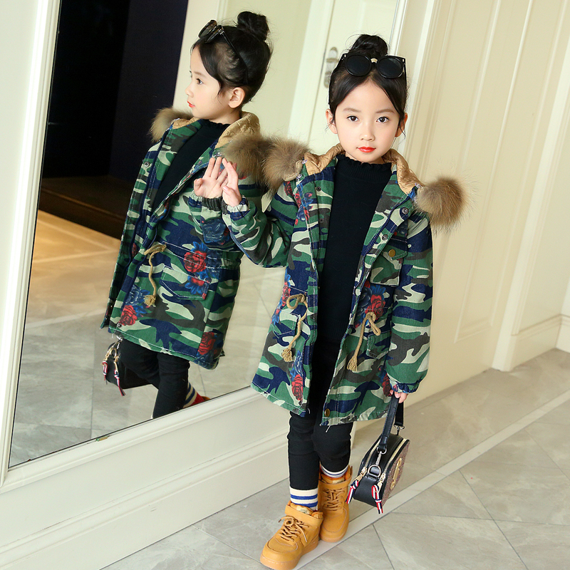 Children Medium-long cowboy Jackets 2018 Winter girls Coats fur Camouflage Down Jackets For Kids High Quality Casual Jacket Coat<br>
