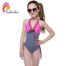 Andzhelika 2017 New Summer  Children's One-Piece Striped Bodysuit  Bathing Suit Cute Kids Beach Swim Girls Swimsuit