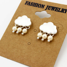 wholesale 6 pair /lot fashion jewelry accessories matte gold silver beads pearl cloud earrings(China)