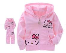 Girls Baby Suit Childrens Clothing Set Pink Kids Suit Hello Kitty Sport Suit Cartoon Cat Long sleeve Shirt+ Pants 2pcs Retail