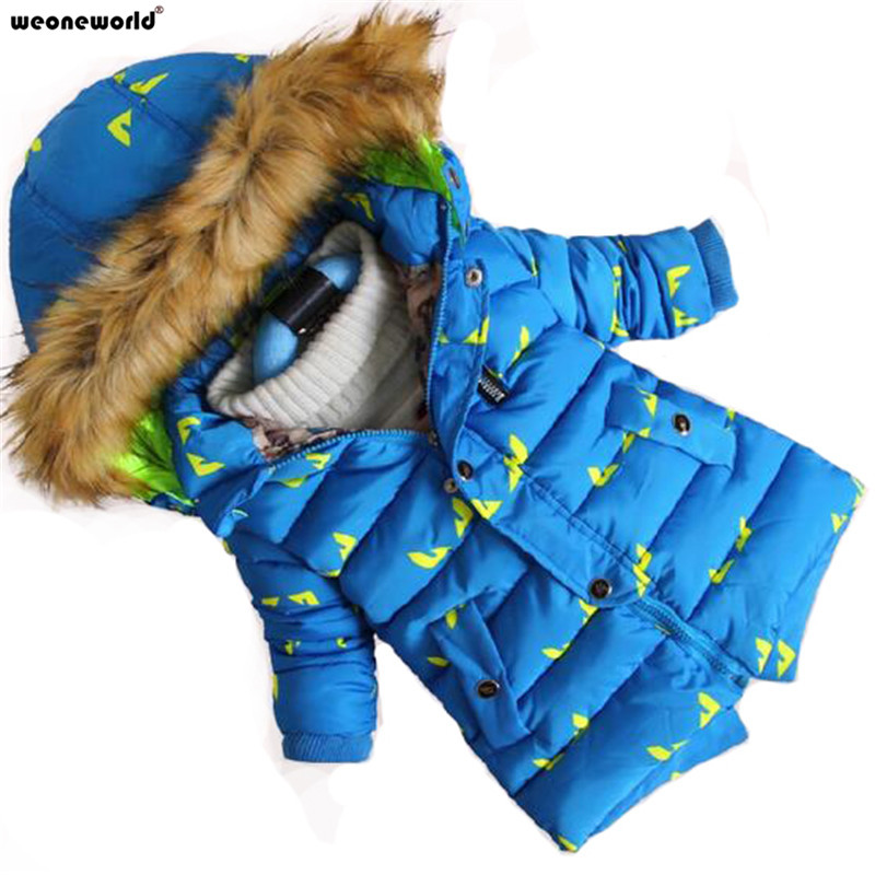 WEONEWORLD New Brand 2017 Winter Kid's Fashion & Casual Jackets Boys Long Sleeve Hooded Coats Kids Warm Clothing