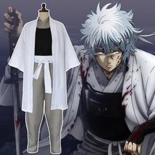 New Japan Anime Gintama Movie Cosplay Costumes Silver Soul Sakata Robe Cloak Set