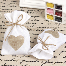 "12Pcs/Lot 10X14cm ""Love In Heart"" Burlap Favor Bags Wedding Favor Bags Gift Bags Jewelry White"