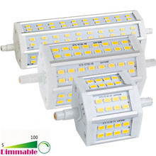 LED Bombillas Dimmable R7S 78mm 118MM 189MM 5730 SMD Lampada 24 48 60 LEDS Flood Light Bulb AC 85-265V Lamp Wall Tube Light(China)