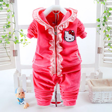Hello Kitty new arrival Girls Clothing set t-shirt + pants suit 2pcs/set baby hat casual long-sleeved t-shirt dot leggings set