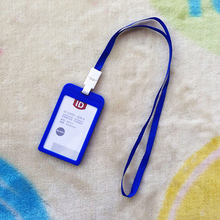 Name Credit Card Holders Women Men Plastic Bank Card Neck Strap Card Bus ID holders candy colors Identity badge with lanyard