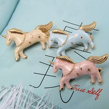 Timlee H099 Free shipping Flying Horse Pegasus Unicorn Hair Clip Hair Pins Girls Lovely Hair Accessary Wholesale . TLW