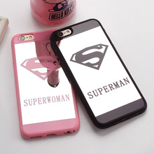 Cute Cartoon Superman Mirror Surface Rubber Phone Case For iPhone 6 7 8 6S Plus Luxury Couple Superwoman Cover For Iphone5 5S SE(China)