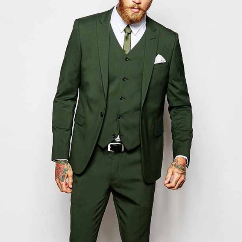 2019 New Three Piece Green Evening Party Men Suits Peaked Lapel One Button Custom Made Wedding Groom Tuxedos (Jacket+Pants+Vest)