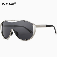 KDEAM Oversized Steampunk Sunglasses Men One Piece Mirror Glasses UV400 zonnebril mannen With Skull Zip Case CE KD618